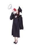 Απόφοιτος φοιτητής γυναικών ευχαριστημένος από megaphone Στοκ φωτογραφία με δικαίωμα ελεύθερης χρήσης