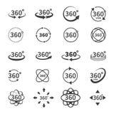 απόψεις 360 βαθμών των διανυσματικών εικονιδίων κύκλων από το υπόβαθρο Σημάδια με τα βέλη για να δείξει την περιστροφή ή Στοκ εικόνα με δικαίωμα ελεύθερης χρήσης