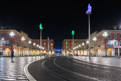 Απόψεις της θέσης Massena τη νύχτα Το τετράγωνο βρίσκεται στο CI Στοκ εικόνα με δικαίωμα ελεύθερης χρήσης