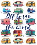 Από για να δει τον κόσμο Ευτυχής κάρτα τροχόσπιτων Στοκ φωτογραφίες με δικαίωμα ελεύθερης χρήσης