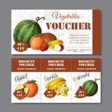 Απόδειξη έκπτωσης καφέδων για την επιχείρησή σας Σύγχρονο ύφος με το στοιχείο τροφίμων στο υπόβαθρο Διάνυσμα προτύπων με το fruit ελεύθερη απεικόνιση δικαιώματος