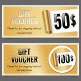 Απόδειξη δώρων Διακριτικό με την αξία δώρων Χρυσός κύλινδρος εγγράφου Στοκ Εικόνες
