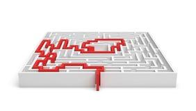 3 απόδοση του άσπρου τετραγωνικού labirynth με μια κόκκινη γραμμή που παρουσιάζει αληθινή πορεία για να βγεί απομονωμένος στο άσπ Στοκ Φωτογραφίες