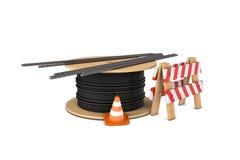 Απόδοση του κώνου κυκλοφορίας, του φράκτη, coiler καλωδίων και διάφορων φραγμών ενίσχυσης που απομονώνονται στο άσπρο υπόβαθρο Στοκ φωτογραφία με δικαίωμα ελεύθερης χρήσης