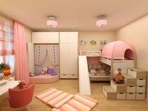 Απόδοση του τρισδιάστατου κλασικού δωματίου παιδιών Στοκ φωτογραφία με δικαίωμα ελεύθερης χρήσης