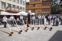 Απόδοση Alphorn σε Appenzell Στοκ Εικόνες