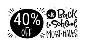 από πίσω στο σχολείο πρέπει να έχει το απόσπασμα Πίσω στη γραπτή συρμένη χέρι φράση λογότυπων εγγραφής σχολικής πώλησης απεικόνιση αποθεμάτων