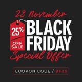 25% από πώλησης το μαύρο υπόβαθρο εμβλημάτων προσφοράς Παρασκευής ειδικό με το σύμβολο τιμών σε απευθείας σύνδεση σχέδιο προτύπων διανυσματική απεικόνιση