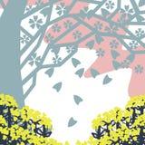 Από τα δέντρα κερασιών και τα λουλούδια λαχανικών Στοκ εικόνα με δικαίωμα ελεύθερης χρήσης