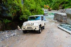 Από τα οδικά οχήματα με τους τουρίστες στην περιοχή συντήρησης Annapurna, Νεπάλ στοκ εικόνες