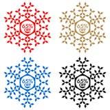65 από την αυτοκόλλητη ετικέττα έκπτωσης Snowflake 65 από την πώληση Στοκ φωτογραφία με δικαίωμα ελεύθερης χρήσης