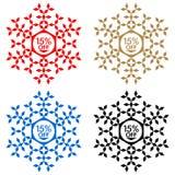 15 από την αυτοκόλλητη ετικέττα έκπτωσης Snowflake 15 από την πώληση Στοκ Εικόνα