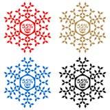 55 από την αυτοκόλλητη ετικέττα έκπτωσης Snowflake 55 από την πώληση Στοκ εικόνες με δικαίωμα ελεύθερης χρήσης