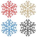 75 από την αυτοκόλλητη ετικέττα έκπτωσης Snowflake 75 από την πώληση Στοκ εικόνες με δικαίωμα ελεύθερης χρήσης