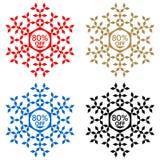 80 από την αυτοκόλλητη ετικέττα έκπτωσης Snowflake 80 από την πώληση Στοκ Εικόνες