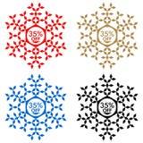 35 από την αυτοκόλλητη ετικέττα έκπτωσης Snowflake 35 από την πώληση Στοκ φωτογραφίες με δικαίωμα ελεύθερης χρήσης