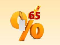 65 από την ειδική τρισδιάστατη απεικόνιση πώλησης προσφοράς Σύμβολο τιμών προσφοράς έκπτωσης Στοκ Εικόνα