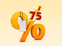 75 από την ειδική τρισδιάστατη απεικόνιση πώλησης προσφοράς Σύμβολο τιμών προσφοράς έκπτωσης Στοκ εικόνα με δικαίωμα ελεύθερης χρήσης