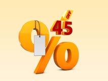45 από την ειδική τρισδιάστατη απεικόνιση πώλησης προσφοράς Σύμβολο τιμών προσφοράς έκπτωσης Στοκ φωτογραφία με δικαίωμα ελεύθερης χρήσης