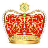 Από τη βασιλική χρυσή κορώνα με τα κοσμήματα και τη διακόσμηση διανυσματική απεικόνιση