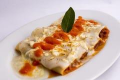 Από τη Μπολώνια ύφος πιάτων Canelones ιταλικό (caneloni) σάλτσα ντοματών, bechamel, στηριγμένο κρέας βόειου κρέατος, βασιλικός Στοκ εικόνες με δικαίωμα ελεύθερης χρήσης
