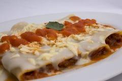Από τη Μπολώνια ύφος πιάτων Canelones ιταλικό (caneloni) σάλτσα ντοματών, bechamel, στηριγμένο κρέας βόειου κρέατος, βασιλικός Στοκ Εικόνα