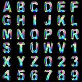 Από τον πολύτιμο λίθο τύπων χαρακτήρων αλφάβητου και το χρωματισμένο γυαλί Στοκ Φωτογραφίες