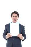 0 από το άτομο κρατώντας ψηλά ένα έμβλημα ή τις σημειώσεις ενάντια σε ένα whi Στοκ φωτογραφία με δικαίωμα ελεύθερης χρήσης