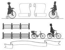 Από το αρχαίο στο σύγχρονο ποδήλατο χωρίς μεταβαλλόμενες συνήθειες Στοκ Εικόνες
