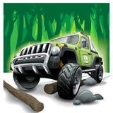 Από το οδικό πράσινο όχημα SUV, βαθιές δυσκολίες ζουγκλών απεικόνιση αποθεμάτων
