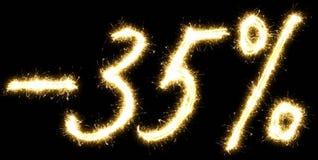 -35% από το σημάδι Φιαγμένος από sparkler Στοκ φωτογραφία με δικαίωμα ελεύθερης χρήσης