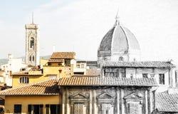 Από το σκίτσο στην πόλη της Φλωρεντίας - καθεδρικός ναός Σάντα Μαρία del Fio Στοκ Εικόνες