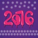 Από το 2016 το νέο έτος Σχέδιο κινούμενων σχεδίων χρώματος Στοκ Εικόνες