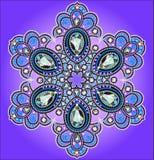 Από snowflake τους πολύτιμους λίθους στο υπόβαθρο serenevom Στοκ Φωτογραφίες