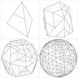Από Tetrahedron στο διάνυσμα γραμμών σφαιρών σφαιρών Στοκ Εικόνα