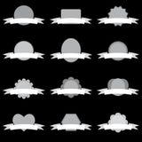 Απλά άσπρα και γκρίζα κενά εμβλήματα με τις κορδέλλες καθορισμένες Στοκ Εικόνες