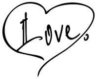Απλά λέξη & x22 love& x22  με μια καρδιά για την επιστολή Αρχική εγγραφή χεριών συνήθειας Στοκ Εικόνα