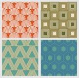 Απλά γεωμετρικά άνευ ραφής σχέδια στο αναδρομικό ύφος Στοκ Εικόνες