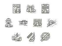 Απλά εικονίδια ασφαλιστικών περιπτώσεων γραμμών Στοκ φωτογραφίες με δικαίωμα ελεύθερης χρήσης
