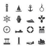 Απλά εικονίδια ναυτικών, ναυσιπλοΐας και θάλασσας σκιαγραφιών απεικόνιση αποθεμάτων