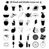Απλά εικονίδια τροφίμων και ποτών καθορισμένα Στοκ φωτογραφία με δικαίωμα ελεύθερης χρήσης
