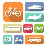 Απλά επίπεδα εικονίδια μεταφορών Στοκ Εικόνες