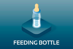 Απλά διανυσματικά Isometric μωρό και εικονίδιαPregnancyΜπουκάλι σίτισης αγοράκι με το γάλα Διανυσματικό σύμβολο στο isometric  Στοκ Εικόνες
