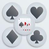 Απλά κοστούμια καρτών εικονιδίων χαρτοπαικτικών λεσχών Στοκ Εικόνες