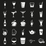 Απλά μαύρα εικονίδια ποτών καθορισμένα Στοκ φωτογραφία με δικαίωμα ελεύθερης χρήσης