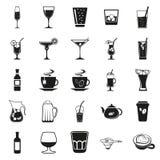 Απλά μαύρα εικονίδια ποτών καθορισμένα Στοκ εικόνες με δικαίωμα ελεύθερης χρήσης