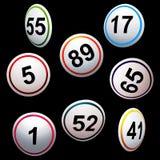 Απλά τρισδιάστατοι αριθμοί λαχειοφόρων αγορών bingo πέρα από το Μαύρο Στοκ εικόνα με δικαίωμα ελεύθερης χρήσης