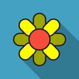 Απλά χρωματισμένα γεωμετρικά διανυσματικά εικονίδια λουλουδιών με τη μακριά σκιά απεικόνιση αποθεμάτων