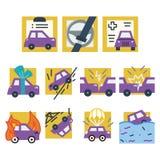 Απλά χρωματισμένα εικονίδια για τη ασφάλεια αυτοκινήτου Στοκ εικόνα με δικαίωμα ελεύθερης χρήσης