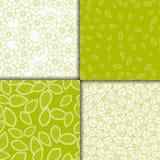 Απλά floral ανοικτό πράσινο και άσπρα άνευ ραφής σχέδια καθορισμένα Στοκ Εικόνες